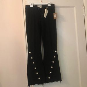 Rachel Roy fit and flare black mid rise jeans